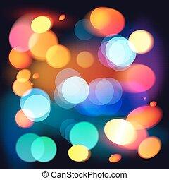 colorito, astratto, bokeh, luminoso, vettore, fondo