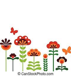 colorito, astratto, fiori, con, farfalle, -1
