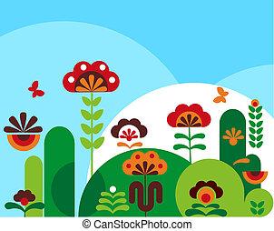colorito, astratto, fiori, con, farfalle, -2