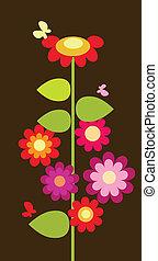 colorito, astratto, fiori, con, farfalle