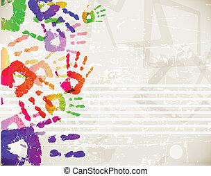 colorito, astratto, handprint, disegno, retro, sagoma