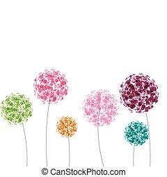 colorito, astratto, illustrazione, flowers., vettore, fondo