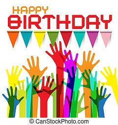 colorito, augurio, compleanno, bandiere, mani, scheda, felice