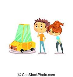 colorito, automobile, coppia, carattere, illustrazione, vettore, insieme., acquisto