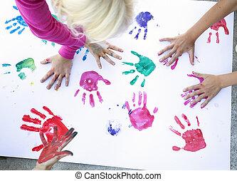colorito, bambini, mano
