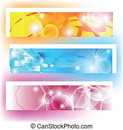 colorito, bandiere, con, forme, e, lucente