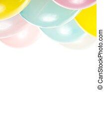 colorito, bianco, palloni, isolato