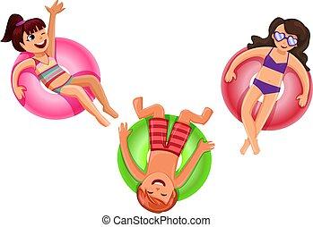 colorito, bianco, vacanza, illustrazione, estate, isolato, concetto, allegro, vettore, stagno, galleggianti, anello, adolescenti