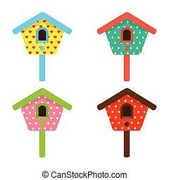 colorito, birdhouses.