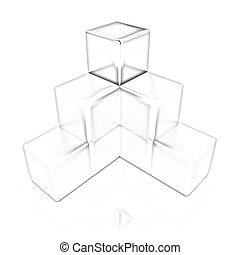colorito, blocco, diagramma, con, uno, individuale, oro, cubo, cima