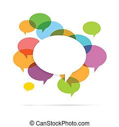 colorito, bolla discorso, copyspace