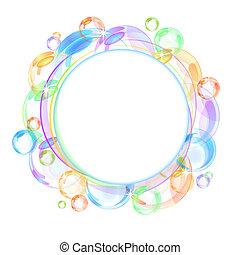 colorito, bolla, vettore, fondo