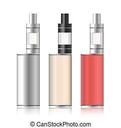 colorito, box., set., vaporizzarsi, isolato, vape, vettore, elettronico, fondo., illustration., sigaretta, bianco