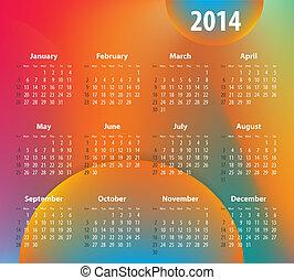 colorito, calendario, per, 2014, anno