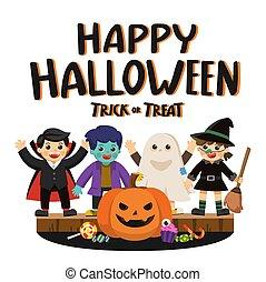 colorito, candy., halloween, costumi, o, trucco, zucche, trattare, festa., bambini, felice