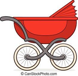 colorito, carrozzino, carrello, bambino, o, rosso