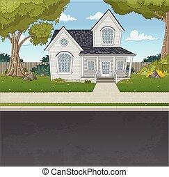 colorito, casa, in, sobborgo, neighborhood.