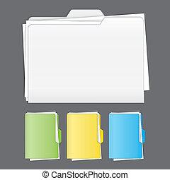 colorito, catalogato, cartella, vettore, set