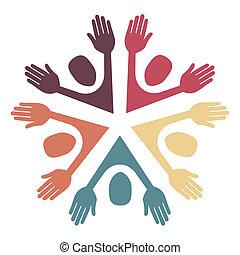 colorito, cerchio, persone, design.