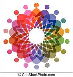 colorito, cerchio, persone, pictogram