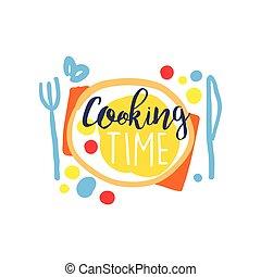 colorito, cibo, cottura, fatto mano, club, sagoma, logotipo