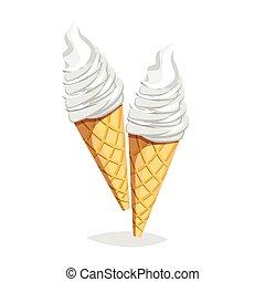 colorito, cibo, digiuno, fondo., cono, gelato, bianco, cartone animato, icona