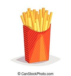 colorito, cibo, frigge, francese, fondo., digiuno, bianco, cartone animato, icona