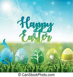 colorito, cielo, uova, soleggiato, fondo, erba, pasqua