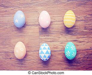 colorito, cima legno, retro, fondo, uova pasqua, vista