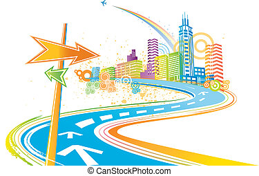 colorito, città, fondo