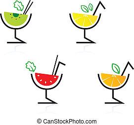 colorito, cocktail, mescolato, /, retro, frutta, bibite, isolato, bianco