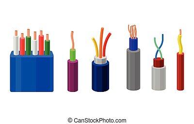 colorito, collezione, cavi, set., fili, vettore, treccia, elettrico