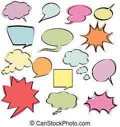 colorito, comico, discorso, bolle