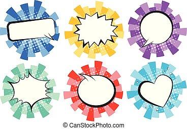colorito, comico, rotondo, discorso, retro, strisce, bolle