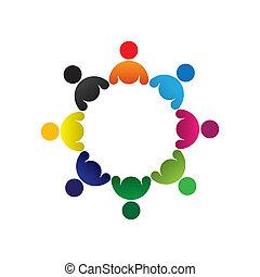 colorito, concetti, comunità, gioco, amicizia, impiegato, vettore, bambini, &, unioni, diversità, rappresenta, condivisione, icons(signs)., bambini, lavoratore, astratto, illustrazione, graphic-, gruppo, come, concetto, ecc