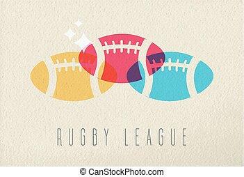 colorito, concetto, rugby, fondo, palla