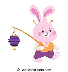 colorito, coniglio, disegno, carino, lanterna, cinese, camminare, presa a terra