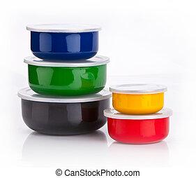 colorito, contenitori, plastica