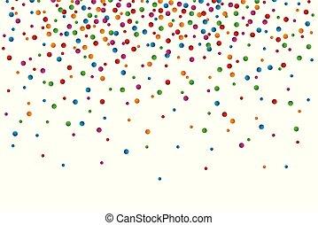 colorito, coriandoli, cadere, bianco, fondo
