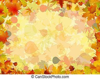colorito, cornice, formato, leaves., eps, autunno, 8