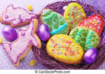 colorito, decorato, pasqua, biscotti