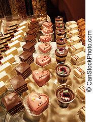 colorito, dessert, e, pasta, servito, su, uno, festa...