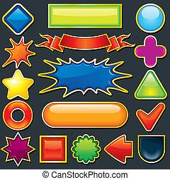 colorito, disegno, element., icona, bottone, sagoma