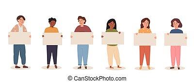 colorito, diverso, bambini, cartone animato, placard., appartamento, bambini, adolescenti, presa a terra, protesting., corsa, banner., miscelare, style., vettore, gruppo, multiethnic, vuoto, illustration.