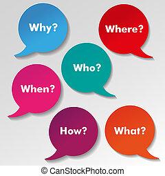 colorito, etichette, carta, discorso, domande, inglese
