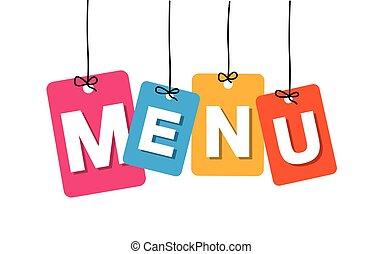 colorito, etichette, menu, -, cardboard., vettore, appendere