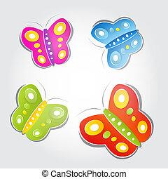 colorito, farfalle, fatto, di, carta, su, luce, grigio, fondo
