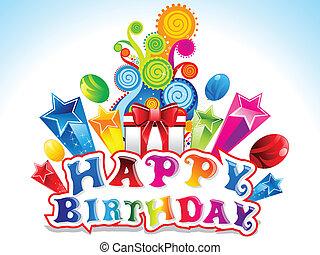 colorito, felice, scheda, compleanno, vettore