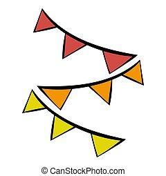 colorito, festa, bandiere, icona, cartone animato