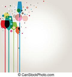 colorito, festa, bibite